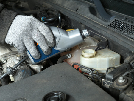 Auto mechanic topping up brake fluid in the vehicle Standard-Bild