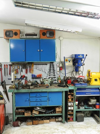 workbench: Workshop with work bench and lots of tools