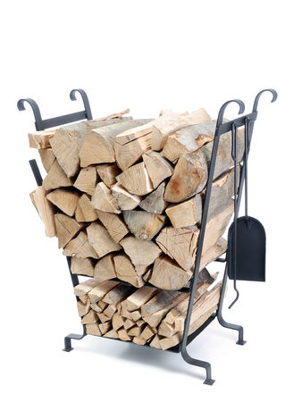 beechwood: Black firewood metal stand loaded with chopped beechwood logs shot on white background