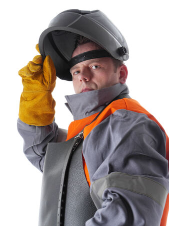 soldador: Retrato del soldador con traje de protección y soldadura capucha en blanco