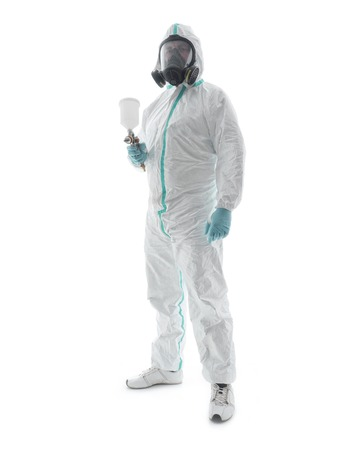 coverall: Spray painter wearing white coverall, respirator and spray gun shot over white background