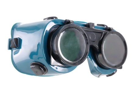 eye protection: Welders safety goggles over white