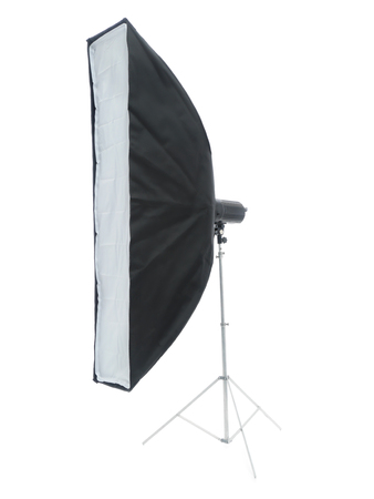Large strip light on metal stand shot on white  photo