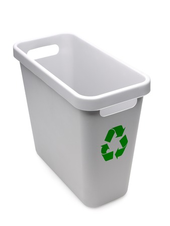 disposal: Empty gray plastic recycle bin with green recycle logo over white background Stock Photo