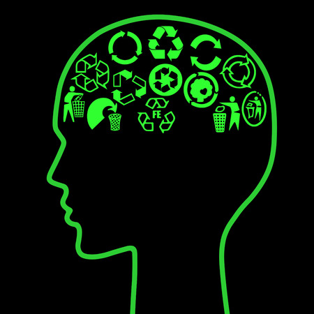 environmental awareness: Human head outline with brain as assorted recycle pictograms - recycle awareness concept