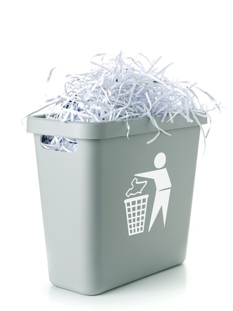 shred: Paper cuttings in gray plastic disposal bin with white paper trash symbol - over white background