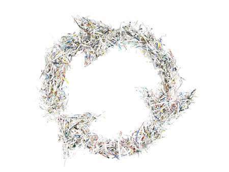 shred: Paper cuttings arranged in form of three arrow recycle symbol - over white background