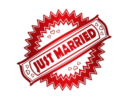 net getrouwd: Rood Just Married stempelafdruk