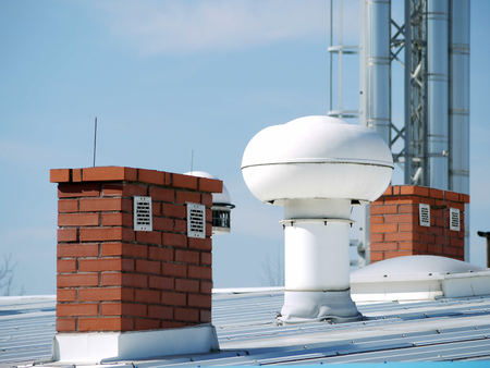 venting: Plant roof with various outlets and chimneys