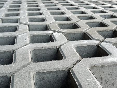 prefabricated: Closeup of openwork concrete pavement