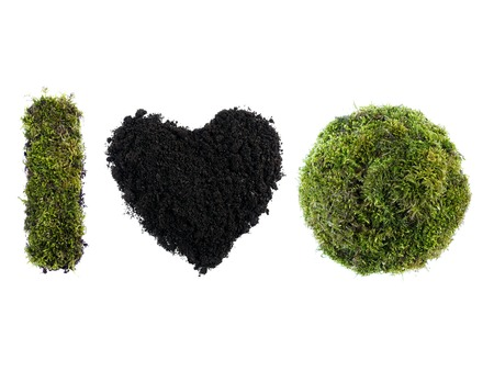 I Love Earth acronym made from moss-grown sphere and letter I and soil shaped into heart over white background photo
