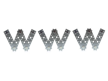 bolted: WWW acronym made from bolted metal flat bars over white background