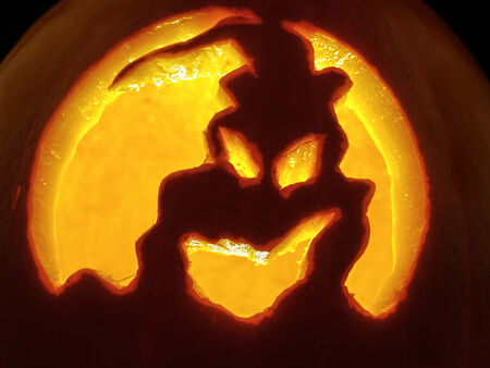Closeup of lit Jack-o-lantern pumpkin