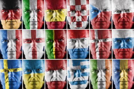 Collage of sport supporter faces painted into major European country national flag colors photo