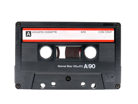 cassette tape: Old audio cassette tape shot over white background Stock Photo