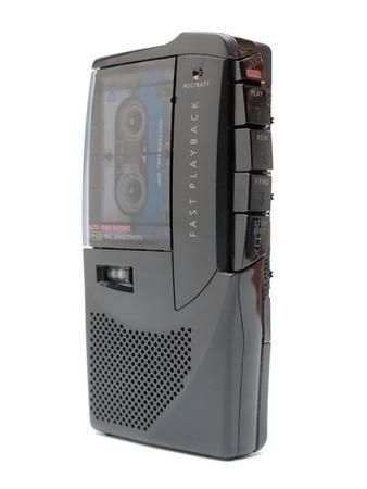 dictating: Voz autom�tico anal�gico activado cinta dict�fono dispar� m�s de fondo blanco