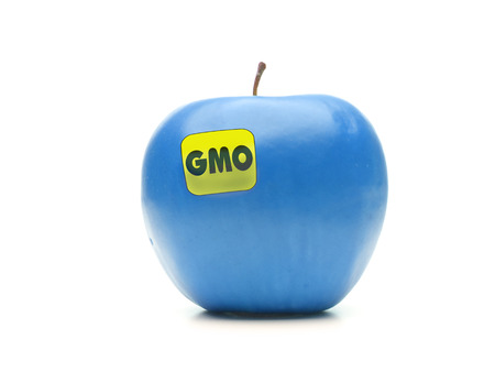 unnatural: Blue apple with yellow GMO label shot on white Stock Photo