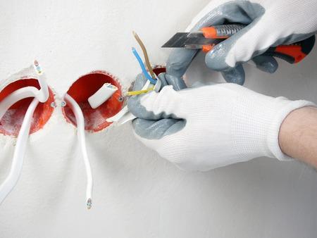 Closeup of electrician
