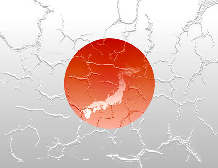 symbolize: Computer generated fractured Japan flag with Japan map outline to symbolize the recent earthquake and calamity that struck this country