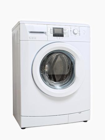 White washing machine on white background