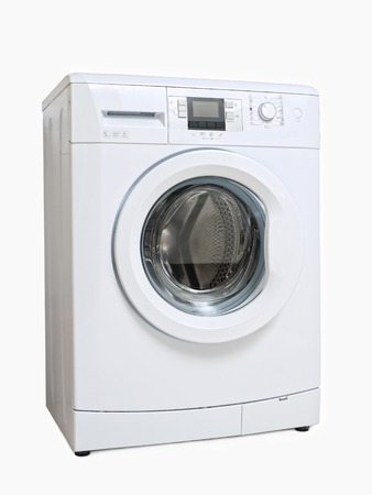 White washing machine on white background