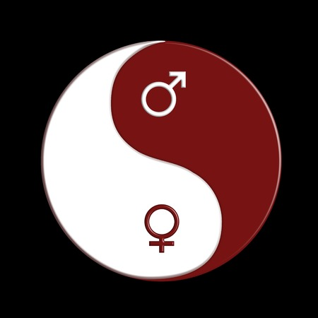 interdependent: Red and white ying-yang sign with male and female symbols over black background