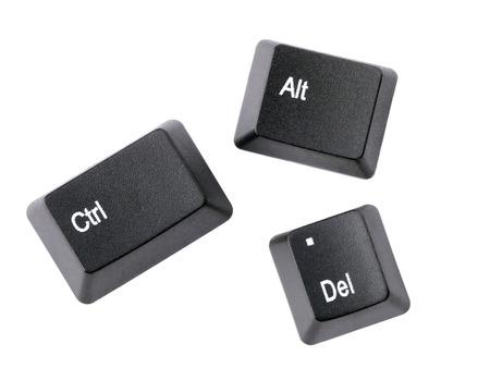 Black Ctrl, Alt, Del keyboard keys isolated on white