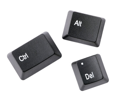 del: Black Ctrl, Alt, Del keyboard keys isolated on white