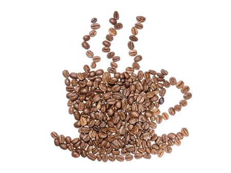 brewed: Coffee beans arranged into a shape of cup full of freshly brewed coffee isolated on white