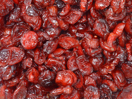 Dried sliced cranberry shot from above Stock Photo