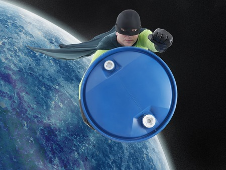 hazardous waste: Eco superhero taking away blue container containing hazardous waste from Earth into outer space