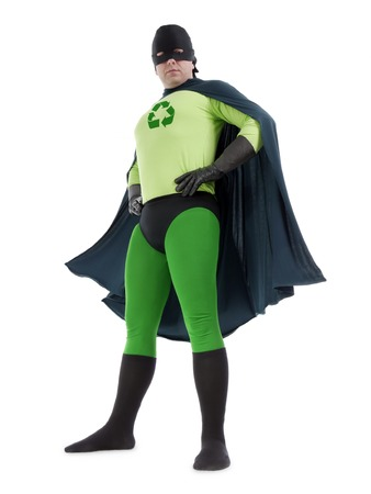 Eco superhero with green recycle arrow symbol on chest standing confidently over white background - recycle concept photo