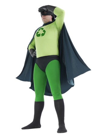 Eco superhero with green recycle arrow symbol on chest looking ahead standing over white background - recycle concept photo