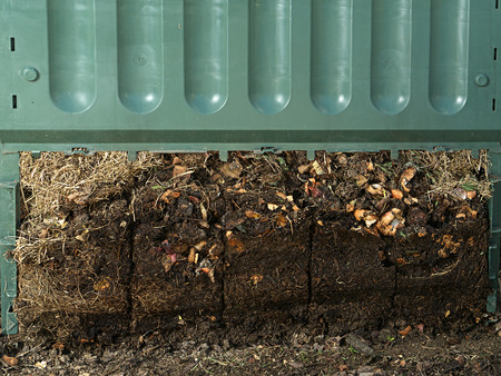 decomposition: Closeup of green plastic compost bin with lower part removed to show advanced soil decomposition process