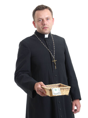 cupidity: Catholic priest with collection plate