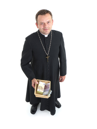 pennypinching: Catholic priest with collection plate full of euro banknotes Stock Photo