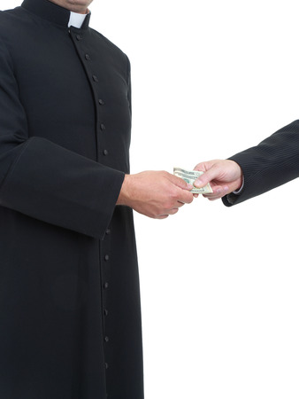 corruptible: Catholic priest receiving bribe from businessman