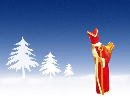 Santa Claus tramping through snow-drift