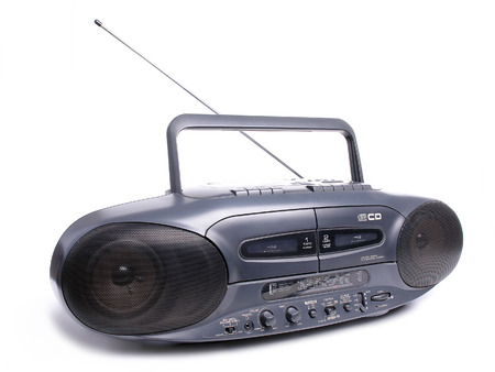 blaster: Black CD player and dual tape recorder over white background Stock Photo