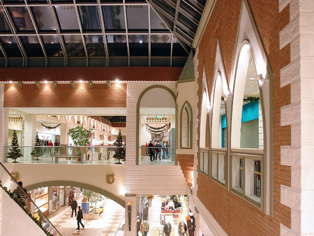 Arcades in shopping mall with christmas decorations