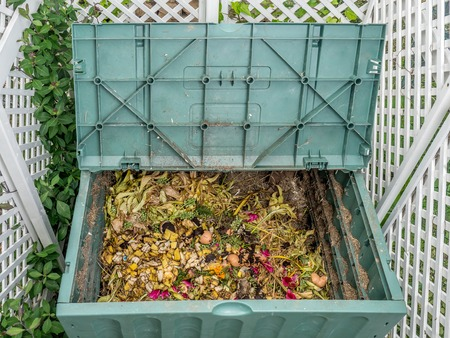 decompose: Green plastic compost bin full of organic and domestic food scraps Stock Photo