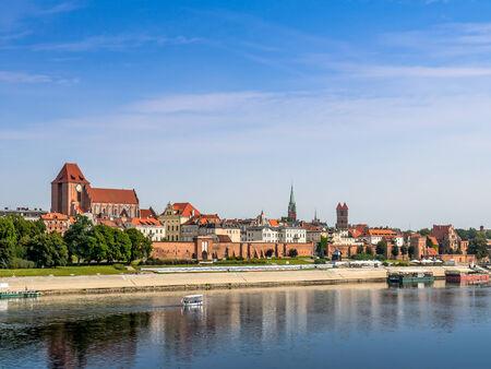 torun: Panorama of old town Torun over the Vistula river, Poland Stock Photo