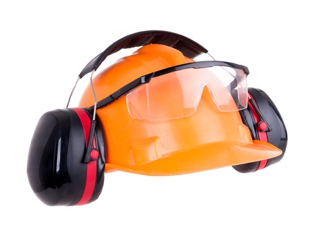 squelch: Industrial protection set including hard hat, safety goggles and earmuffs shot on white Stock Photo