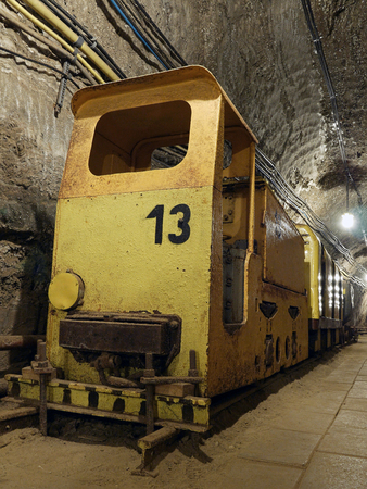 tunneling: Old salt mine yellow train with bogies