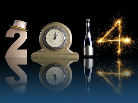 New Year 2014 set up of golden digit two, table clock, bottle of champagne and digit four created from burning sparkler all with mirror reflection effect photo