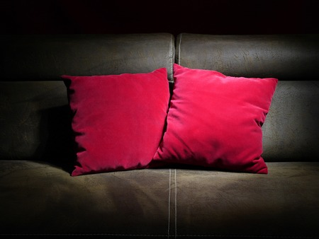 homelike: Two red pillows on brown leather sofa Stock Photo