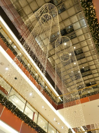 Shopping center decorated with christmas ornaments and lights