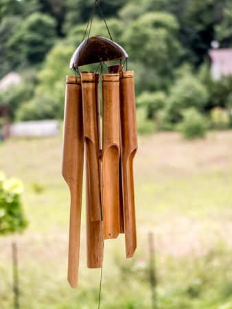 chimes: Bamboo wind chimes hung outside