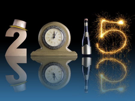 New Year 2015 set up of golden digit two, table clock, bottle of champagne and digit five created from burning sparkler all with mirror reflection effect photo