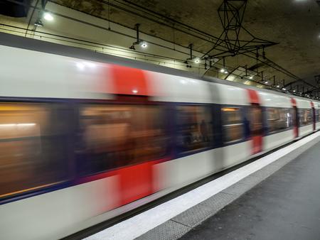 metropolitan: Parisian subway train in motion blur